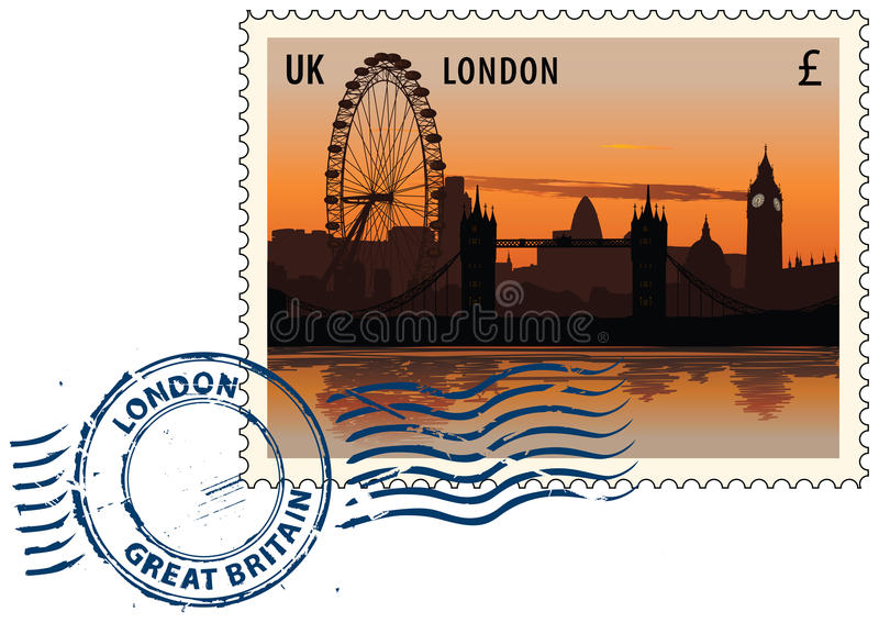 Postmark from London. Postmark with night sight of London cityscape