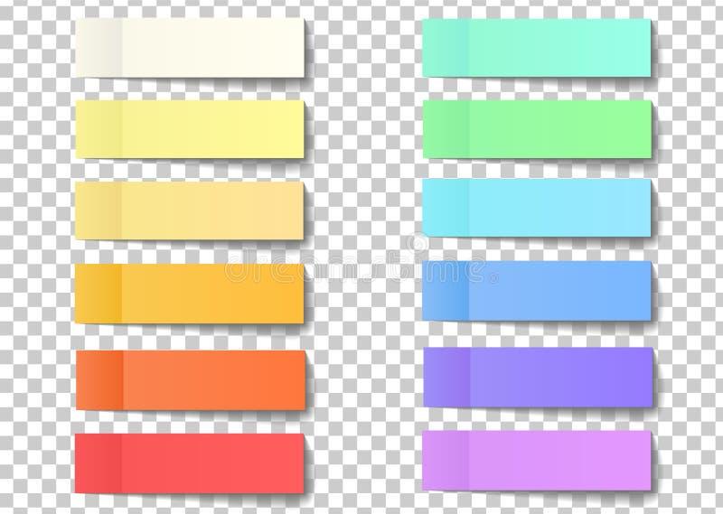 Postnota kleverige die stickers met schil van hoek op een tra wordt geïsoleerd vector illustratie