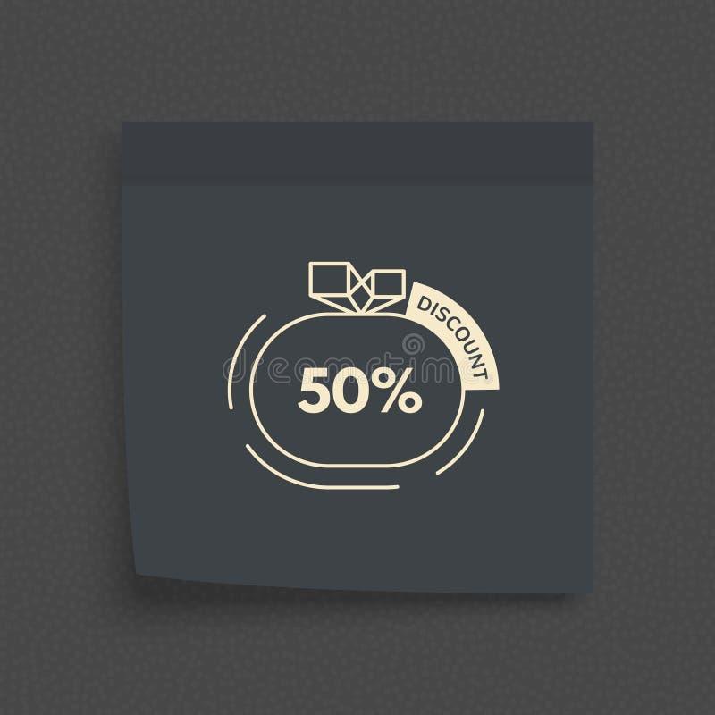 Postnotadocument blad Kleverige sticker Het vectormalplaatje van het bureaumemorandum De markering van de verkoop 50% het teken v royalty-vrije illustratie