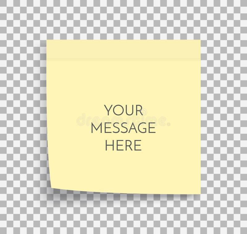 Postnotadocument blad Kleverige sticker Het vectormalplaatje van het bureaumemorandum Lege gele vierkante zelfklevende stickerspo stock illustratie