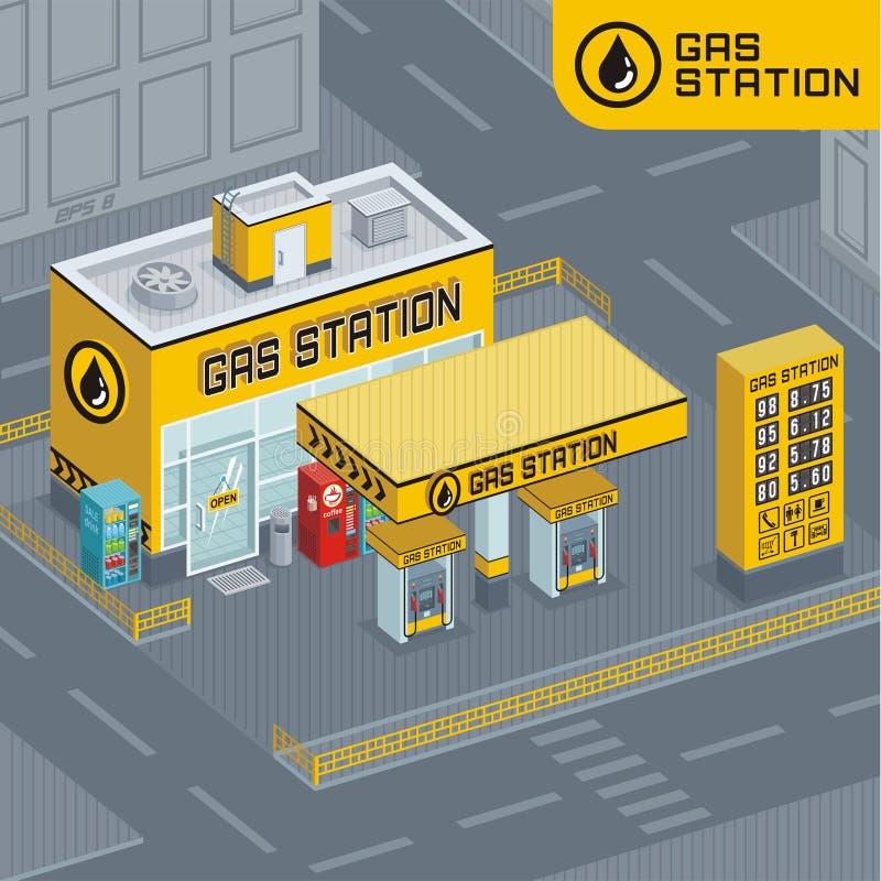 Posto de gasolina ilustração royalty free