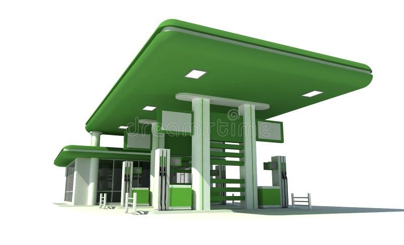 Posto de gasolina 3d ilustração royalty free