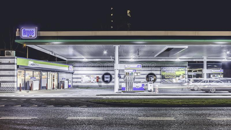 Posto de gasolina, Amsterdão holland foto de stock royalty free