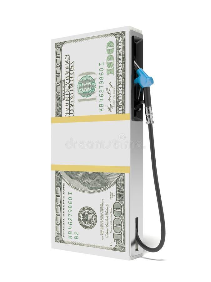 Posto de gasolina como a pilha de dólares ilustração stock