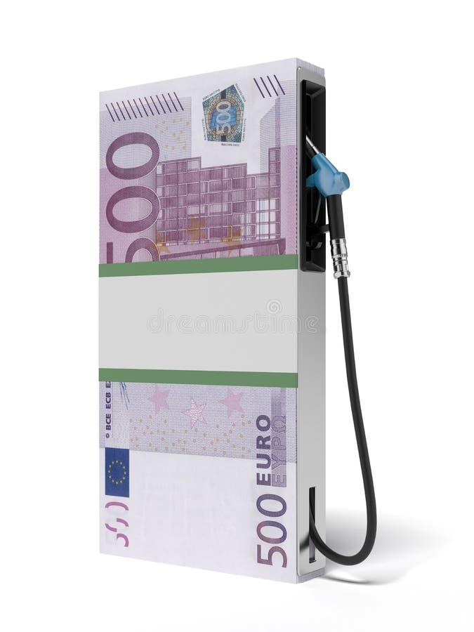 Posto de gasolina como a pilha de euro ilustração stock