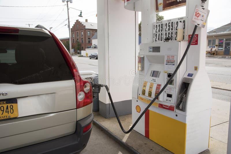 Posto de gasolina Connecticut EUA fotos de stock