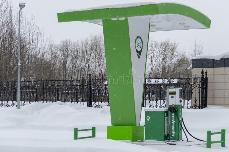 Posto de gasolina elétrico para veículos elétricos imagem de stock