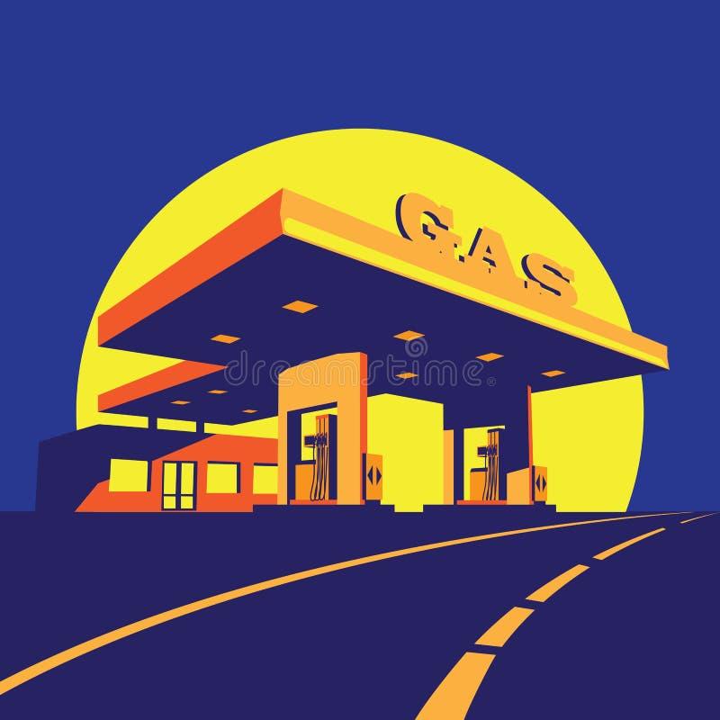 Posto de gasolina moderno na noite ilustração do vetor