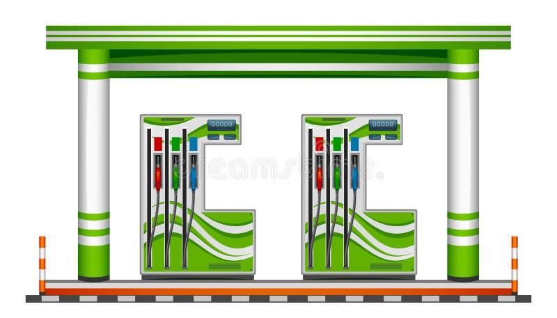 Posto de gasolina verde ilustração royalty free