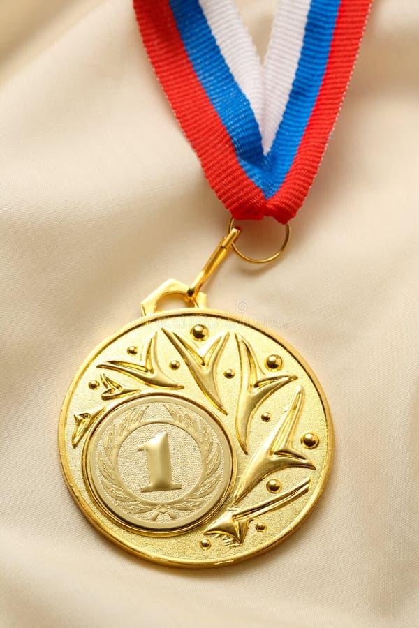 Posto della medaglia del metallo primo fotografie stock