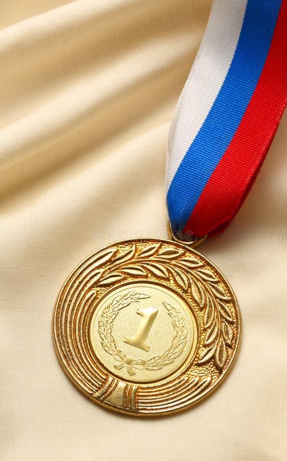 Posto della medaglia del metallo primo fotografia stock