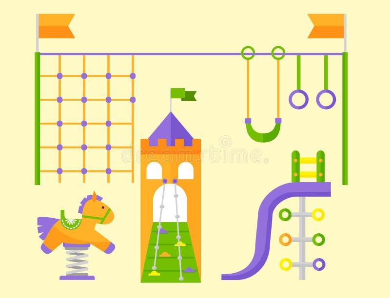 Posto di attività del parco del gioco di infanzia di divertimento del campo da giuoco dei bambini royalty illustrazione gratis