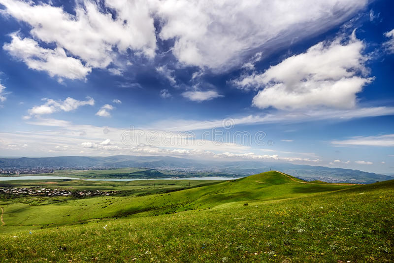 Posto di deltaplano vicino al mare di Tbilisi, Georgia fotografia stock libera da diritti