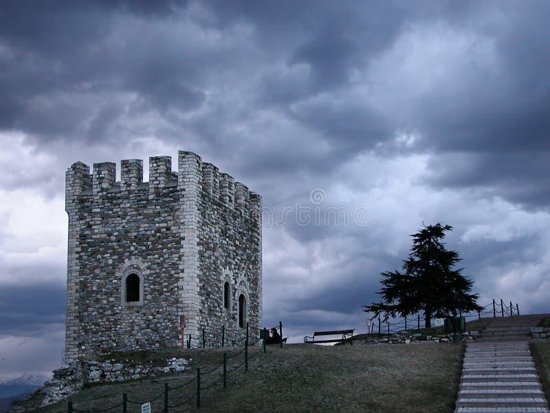 Posto di guardia e un albero a Skopje immagini stock