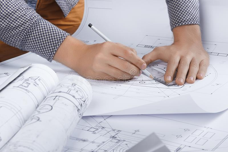 Posto di lavoro architetto/dell'ingegnere immagini stock libere da diritti