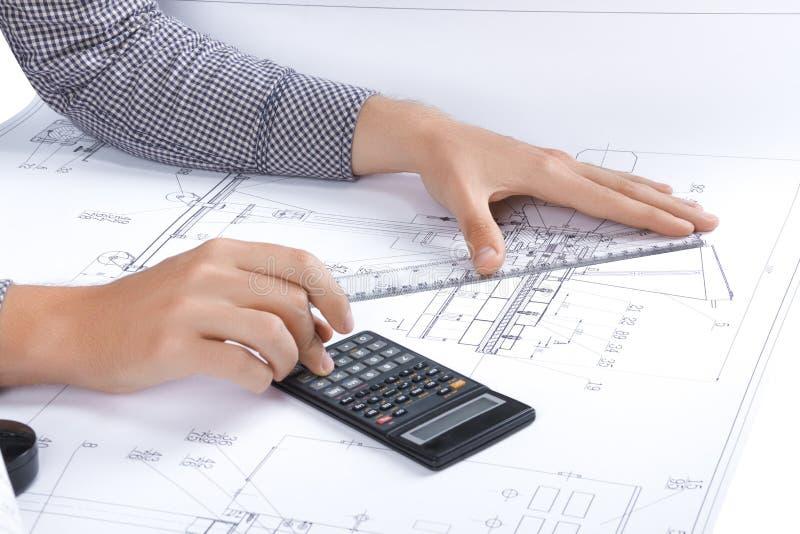 Posto di lavoro architetto/dell'ingegnere fotografia stock