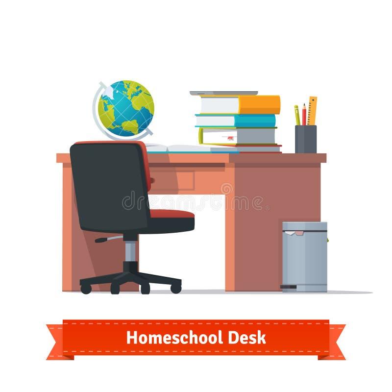 Posto di lavoro comodo di homeschool con lo scrittorio illustrazione di stock
