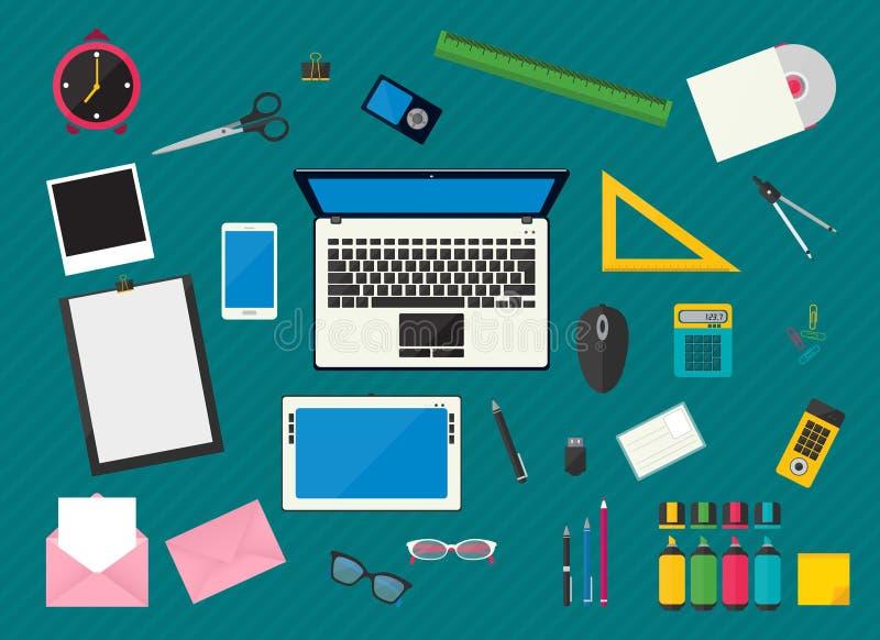 Posto di lavoro con i dispositivi del computer illustrazione vettoriale