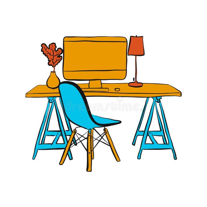 Posto di lavoro con il computer e la sedia royalty illustrazione gratis
