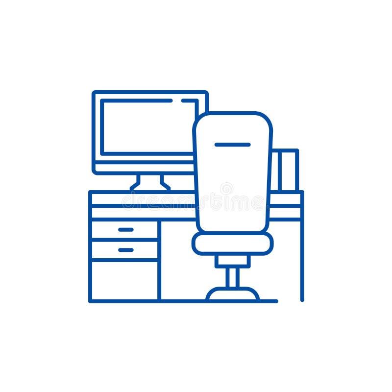 Posto di lavoro con la linea concetto della sedia e del computer dell'icona Posto di lavoro con il simbolo piano di vettore della illustrazione di stock