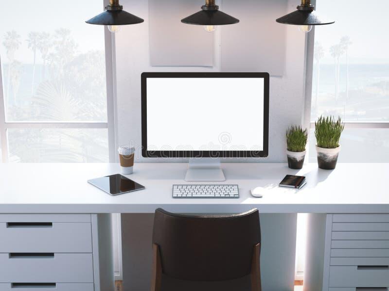 Posto di lavoro con lo schermo in bianco su una tavola bianca rappresentazione 3d illustrazione di stock