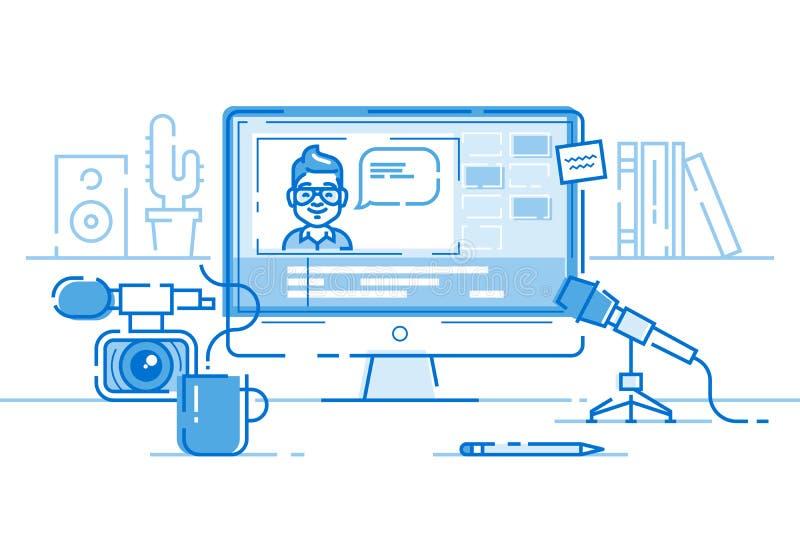 Posto di lavoro del blogger o di video redattore Vettore illustrazione di stock