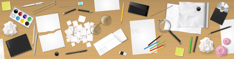 Posto di lavoro del desktop dell'insegna royalty illustrazione gratis