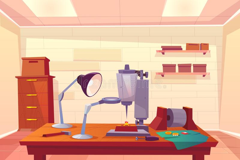 Posto di lavoro del gioielliere con il vettore del fumetto degli strumenti del lavoro illustrazione vettoriale