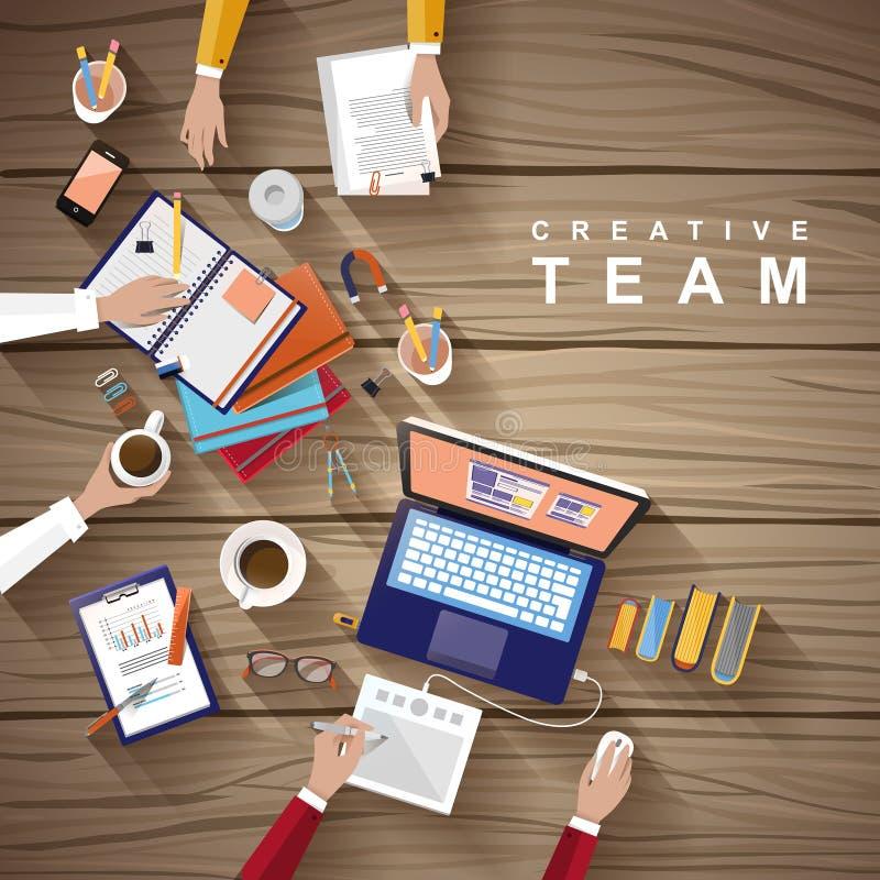 Posto di lavoro del gruppo creativo nella progettazione piana illustrazione vettoriale