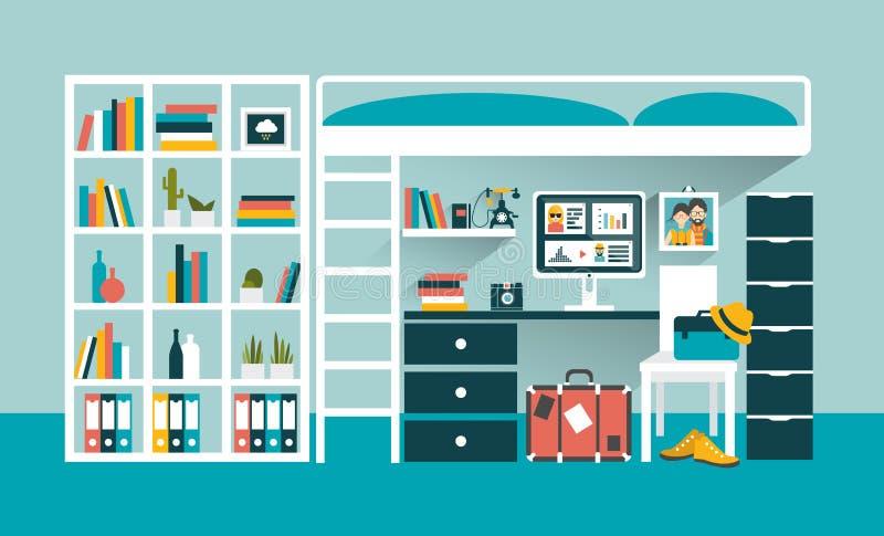 Posto di lavoro dell'ufficio con gli scaffali di libro e del computer sotto il letto di cuccetta royalty illustrazione gratis