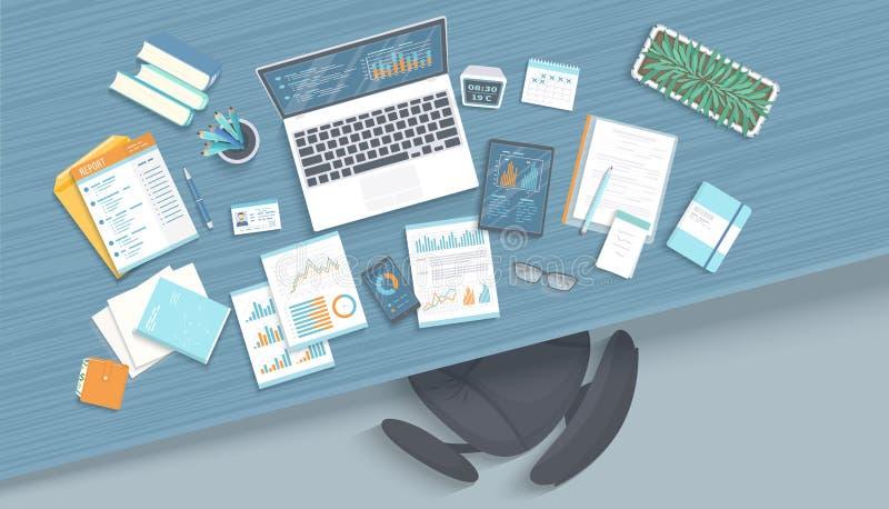 Posto di lavoro dell'ufficio con la tavola, poltrona, articoli per ufficio di affari, taccuino, computer portatile, documenti illustrazione vettoriale