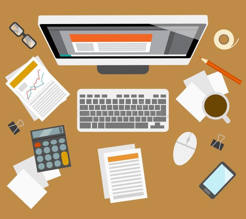 Posto di lavoro della gestione di Accounter illustrazione vettoriale