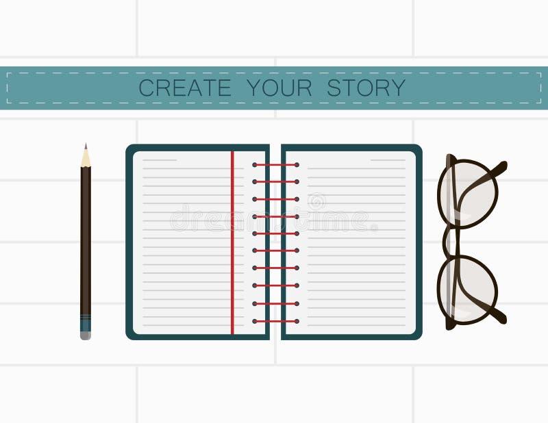 Posto di lavoro dello scrittore Crei la vostra storia nelle note illustrazione vettoriale
