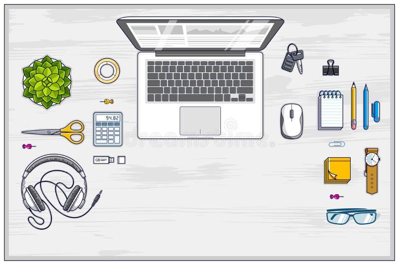 Posto di lavoro dello scrittorio del lavoro degli impiegati o dell'imprenditore di ufficio con il computer portatile e diversi og illustrazione vettoriale