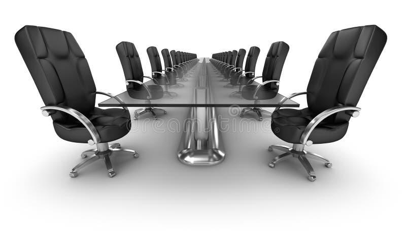 Posto di lavoro di affari, interno bianco della sala del consiglio royalty illustrazione gratis