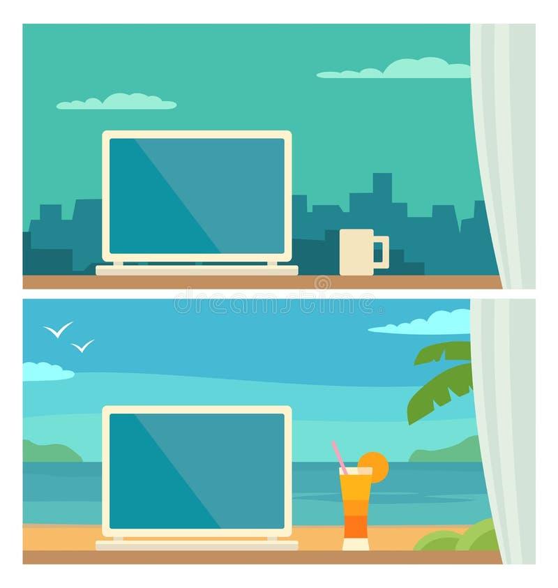Posto di lavoro differente due in ufficio e sulla località di soggiorno tropicale illustrazione di stock