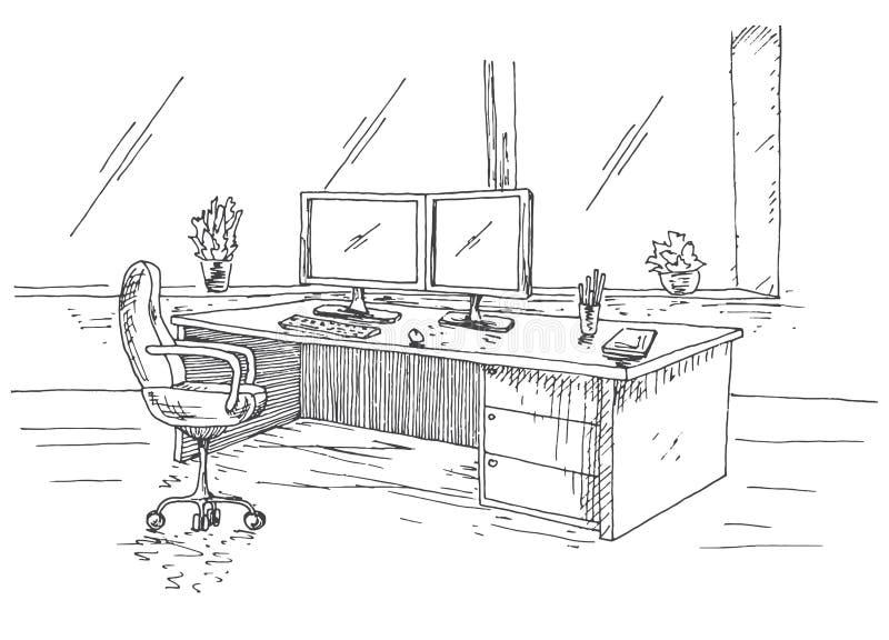Posto di lavoro disegnato a mano dietro i monitor Tavola di funzionamento con due monitor, sedia dell'ufficio Illustrazione di ve illustrazione vettoriale
