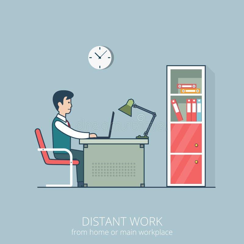 Posto di lavoro distante del lavoro di affari piani lineari di arte di illustrazione vettoriale