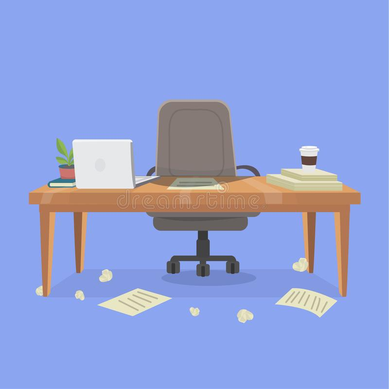 posto di lavoro e disordine dell'ufficio illustrazione vettoriale