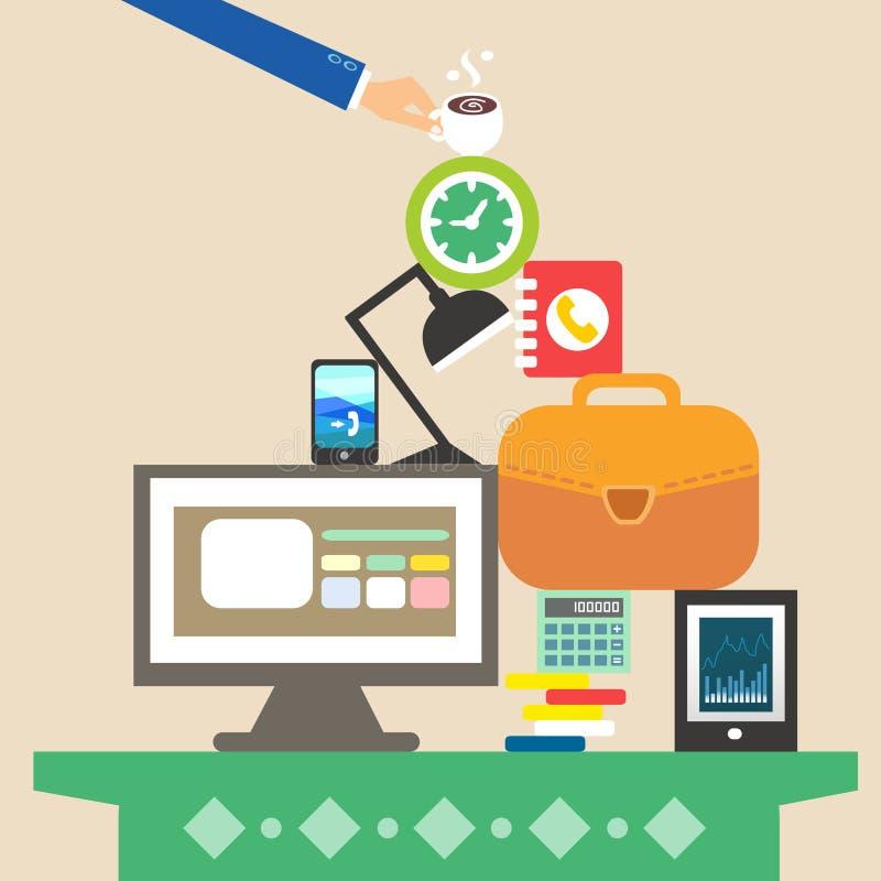 Posto di lavoro e oggetti business per duro lavoro royalty illustrazione gratis