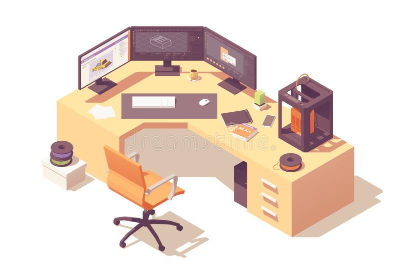Posto di lavoro isometrico dell'artista 3d di vettore illustrazione di stock