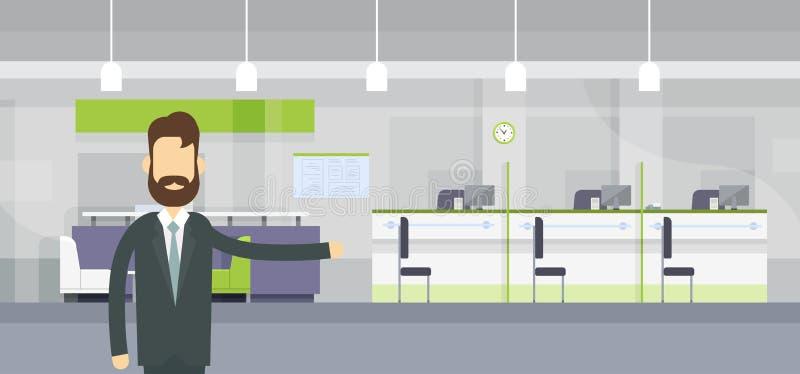 Posto di lavoro moderno dell'ufficio della Banca di Worker Welcome Gesture del banchiere royalty illustrazione gratis