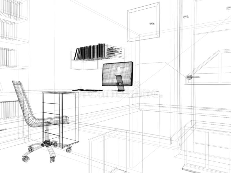 Posto di lavoro moderno nell'interno domestico, rappresentazione 3d illustrazione vettoriale