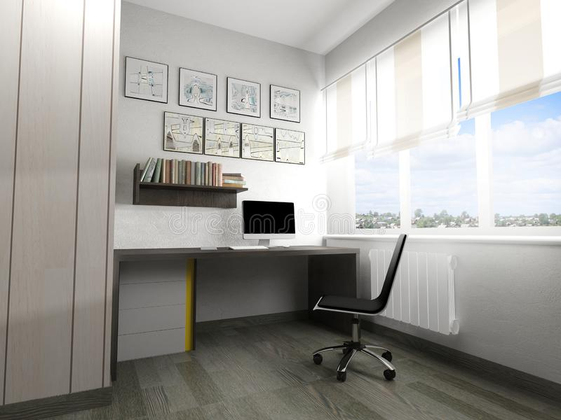 Posto di lavoro moderno nell'interno domestico, rappresentazione 3d royalty illustrazione gratis
