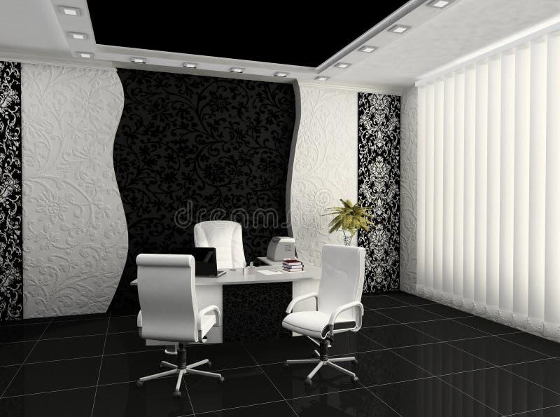 Posto di lavoro nell'interiore moderno dell'ufficio illustrazione di stock