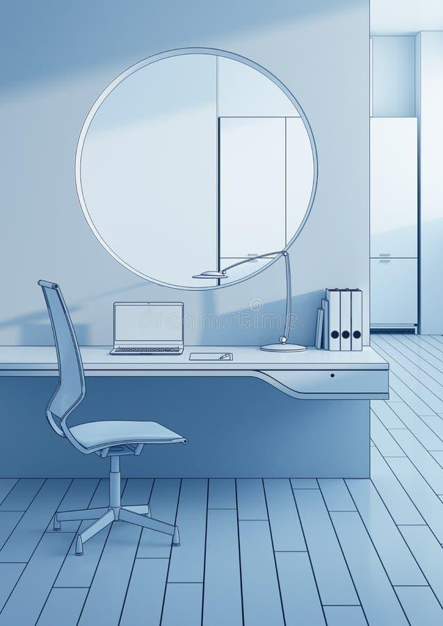 Posto di lavoro nell'ufficio moderno illustrazione di stock
