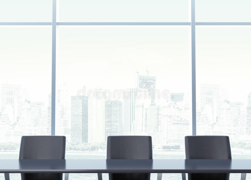 Posto di lavoro per i negoziati con la tavola illustrazione vettoriale