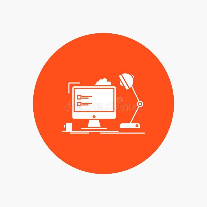 posto di lavoro, stazione di lavoro, ufficio, lampada, icona bianca di glifo del computer nel cerchio Illustrazione del bottone d illustrazione di stock