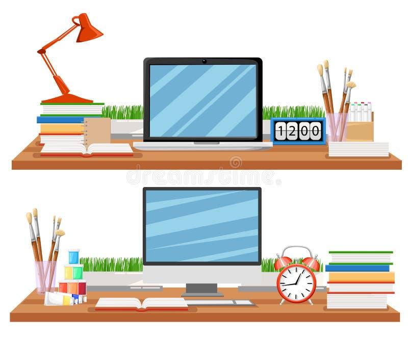Posto di lavoro in ufficio con lo scrittorio, scaffali, elettronica, libri Lo scrittorio moderno con i documenti e la cancelleria illustrazione di stock