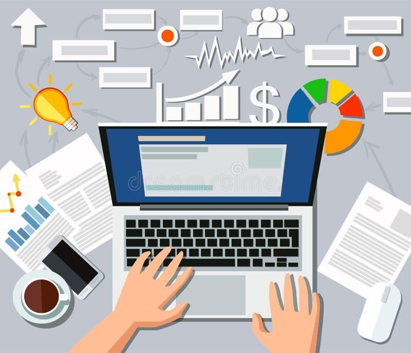Posto di lavoro di un analista finanziario occupato dell'uomo di affari illustrazione vettoriale